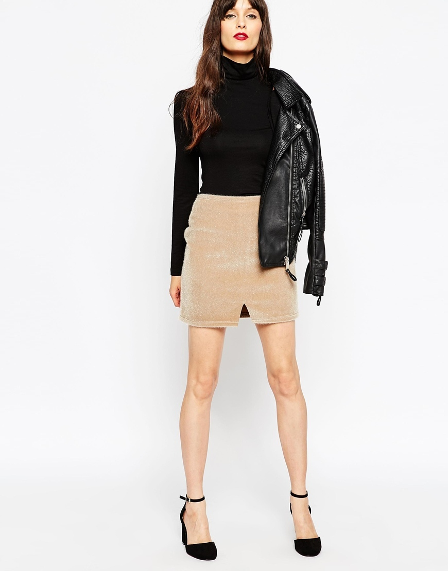 Mini Skirt In Faux Pony Skin Notch Hem Cream - length: mini; pattern: plain; fit: body skimming; waist: high rise; predominant colour: camel; occasions: casual, evening, creative work; style: mini skirt; fibres: polyester/polyamide - stretch; texture group: fur; pattern type: fabric; season: a/w 2015; wardrobe: basic