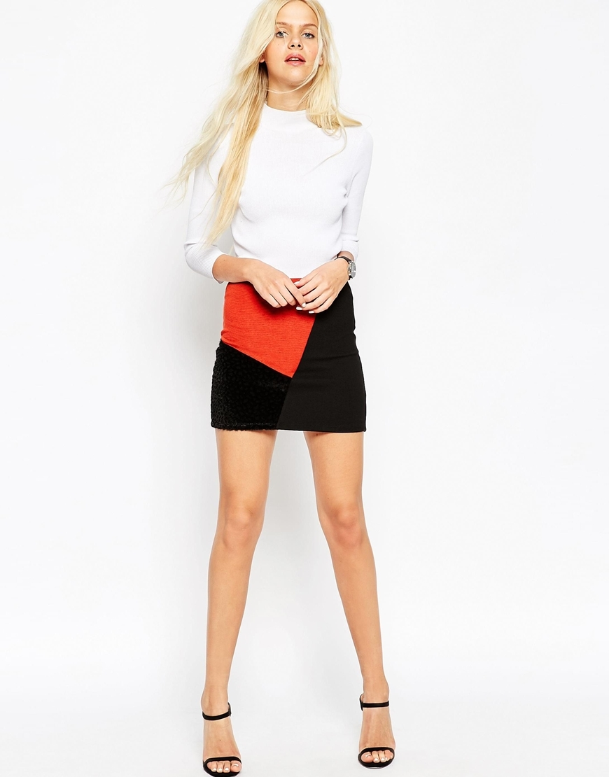 Mini Skirt In Patchwork Colour Block Multi - length: mini; fit: tight; waist: high rise; predominant colour: black; occasions: casual, evening, creative work; style: mini skirt; pattern type: fabric; pattern: colourblock; texture group: other - light to midweight; season: a/w 2015; wardrobe: highlight