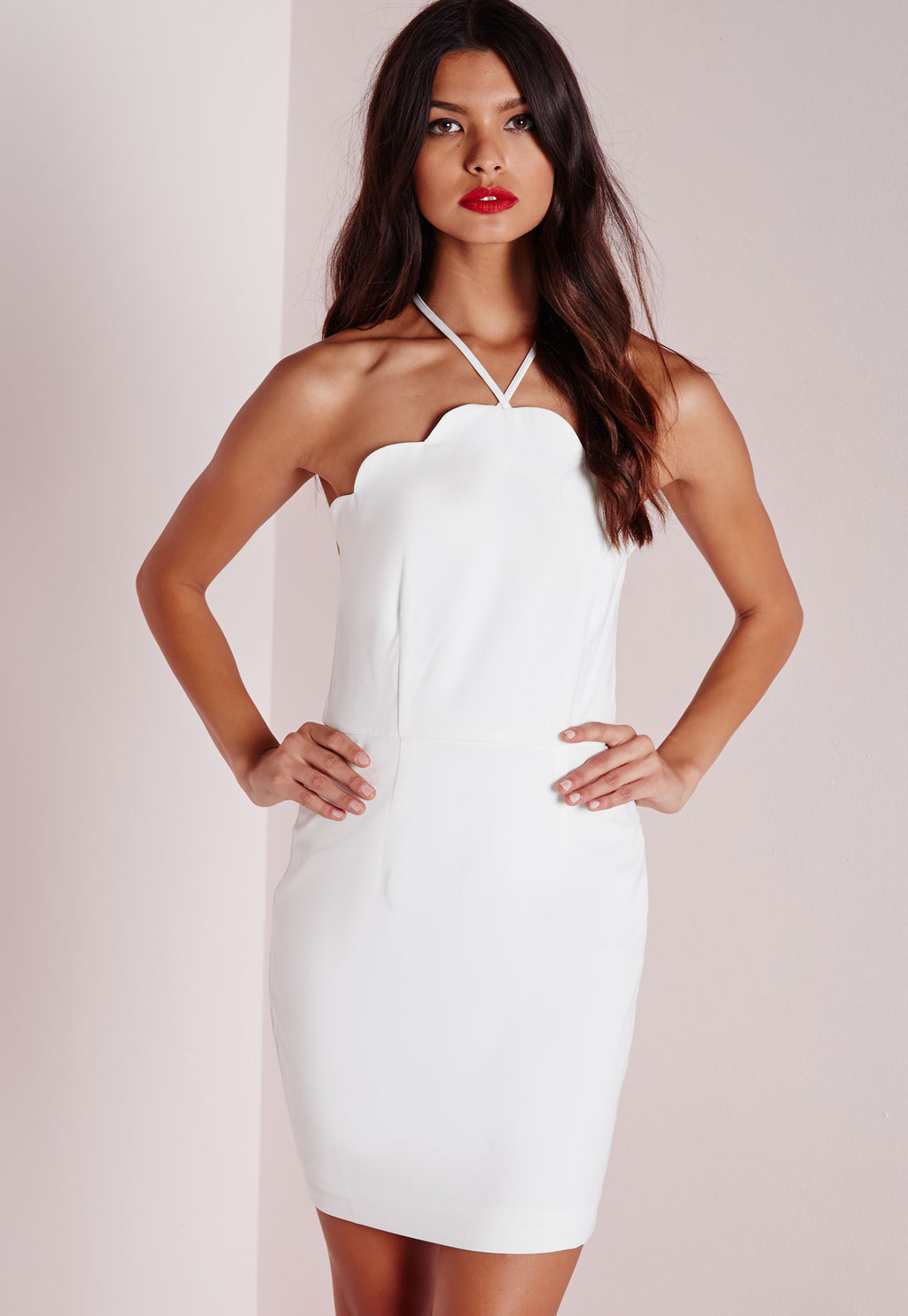 Scallop Bodycon Dress White, White - style: shift; length: mid thigh; fit: tight; pattern: plain; sleeve style: sleeveless; neckline: low halter neck; predominant colour: white; occasions: evening; fibres: polyester/polyamide - 100%; sleeve length: sleeveless; pattern type: fabric; texture group: other - light to midweight; season: a/w 2015; wardrobe: event