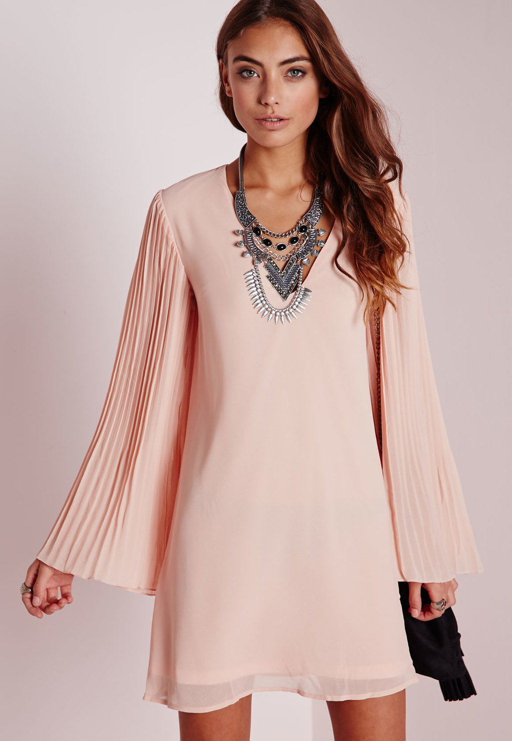 Pleated Sleeve Swing Dress Nude, Beige - style: shift; length: mid thigh; neckline: low v-neck; pattern: plain; sleeve style: trumpet; predominant colour: blush; occasions: evening, occasion; fit: soft a-line; sleeve length: long sleeve; texture group: sheer fabrics/chiffon/organza etc.; pattern type: fabric; season: a/w 2015; wardrobe: event