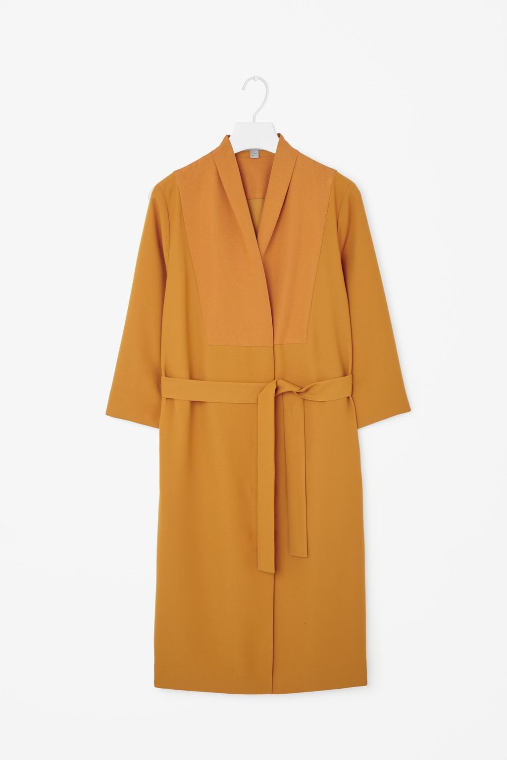 Long Blazer Dress - style: faux wrap/wrap; neckline: v-neck; fit: loose; pattern: plain; waist detail: belted waist/tie at waist/drawstring; predominant colour: mustard; occasions: casual, creative work; length: on the knee; fibres: polyester/polyamide - 100%; sleeve length: 3/4 length; sleeve style: standard; pattern type: fabric; texture group: woven light midweight; season: a/w 2015; wardrobe: highlight