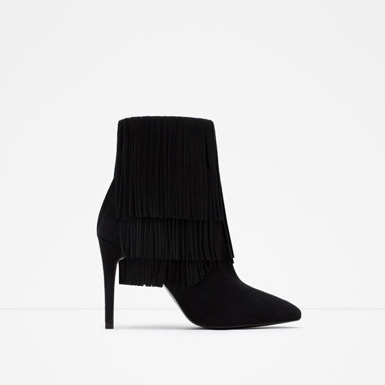 Leather Ankle Boot With Fringes - predominant colour: black; material: suede; heel: stiletto; toe: pointed toe; boot length: ankle boot; style: standard; finish: plain; pattern: plain; embellishment: fringing; heel height: very high; occasions: creative work; season: a/w 2015; wardrobe: highlight