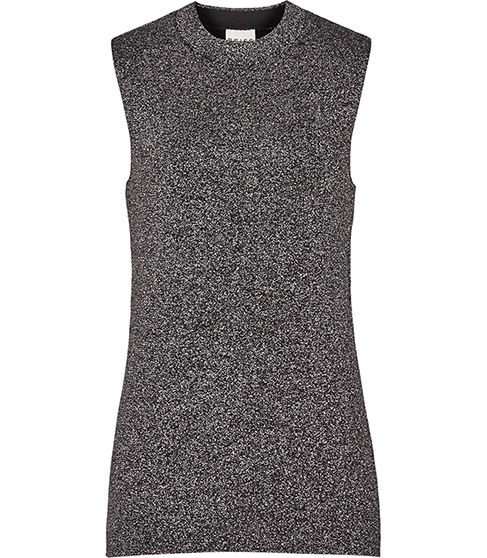 Astrid Knitted Metallic Tank - pattern: plain; sleeve style: sleeveless; predominant colour: charcoal; occasions: casual, creative work; length: standard; style: top; fibres: viscose/rayon - stretch; fit: body skimming; neckline: crew; sleeve length: sleeveless; pattern type: fabric; texture group: jersey - stretchy/drapey; season: a/w 2015; wardrobe: basic