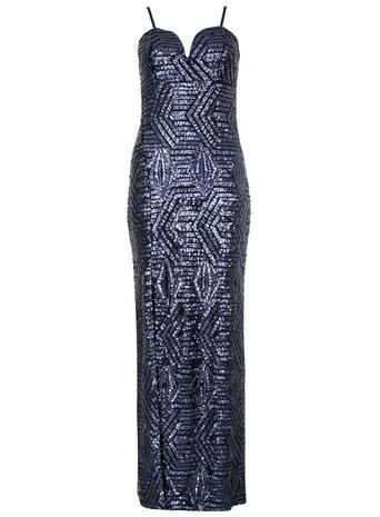 Womens **Quiz Navy Sequin Maxi Dress Blue - sleeve style: spaghetti straps; style: maxi dress; length: ankle length; neckline: sweetheart; predominant colour: navy; occasions: evening, occasion; fit: body skimming; sleeve length: sleeveless; pattern type: fabric; pattern: patterned/print; texture group: other - light to midweight; embellishment: sequins; season: a/w 2015