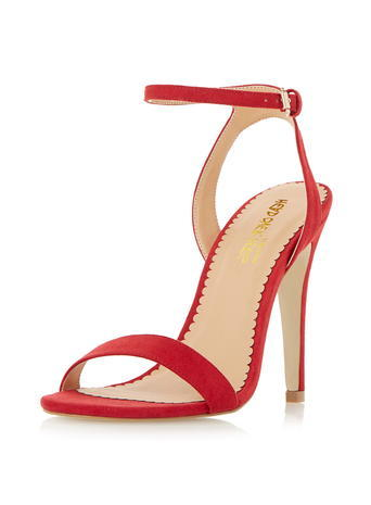 Womens **Head Over Heels 'madam' High Heel Strappy Sandals Red - predominant colour: true red; occasions: evening, occasion; material: suede; ankle detail: ankle strap; heel: stiletto; toe: open toe/peeptoe; style: strappy; finish: plain; pattern: plain; heel height: very high; season: a/w 2015