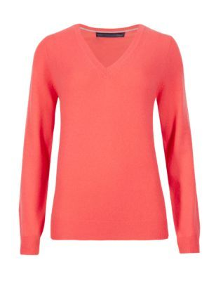 Pure Cashmere V Neck Jumper - neckline: v-neck; pattern: plain; style: standard; predominant colour: coral; occasions: casual, creative work; length: standard; fit: standard fit; fibres: cashmere - 100%; sleeve length: long sleeve; sleeve style: standard; texture group: knits/crochet; pattern type: knitted - fine stitch; pattern size: standard; season: s/s 2015; wardrobe: highlight