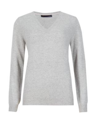 Pure Cashmere V Neck Jumper - neckline: v-neck; pattern: plain; style: standard; predominant colour: light grey; occasions: casual, creative work; length: standard; fit: standard fit; fibres: cashmere - 100%; sleeve length: long sleeve; sleeve style: standard; texture group: knits/crochet; pattern type: knitted - fine stitch; season: s/s 2015; wardrobe: investment