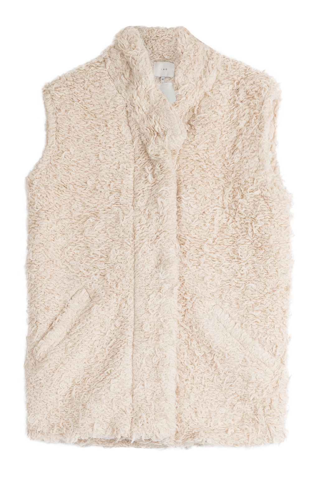 Faux Fur Vest - pattern: plain; sleeve style: sleeveless; style: gilet; collar: high neck; predominant colour: stone; occasions: casual, creative work; length: standard; fit: straight cut (boxy); fibres: acrylic - mix; sleeve length: sleeveless; texture group: fur; collar break: high; pattern type: fabric; season: a/w 2015; wardrobe: highlight