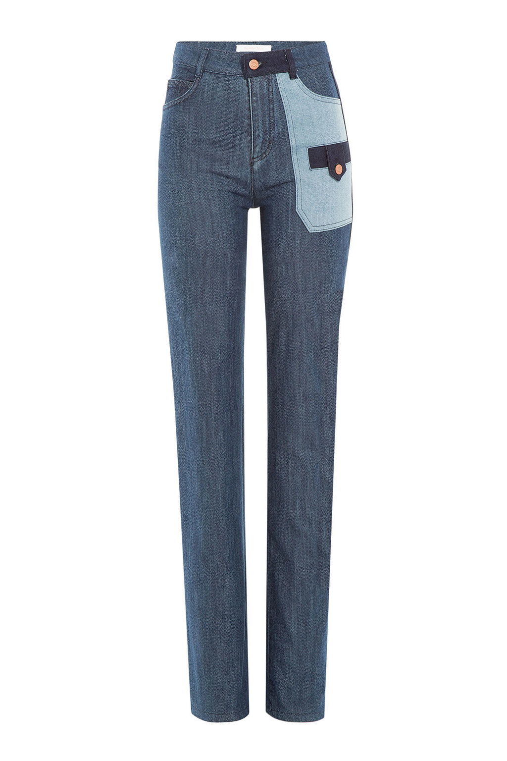 Flared Jeans - style: flares; length: standard; waist: high rise; pocket detail: traditional 5 pocket; predominant colour: denim; occasions: casual; fibres: cotton - stretch; texture group: denim; pattern type: fabric; pattern: colourblock; season: a/w 2015; wardrobe: highlight