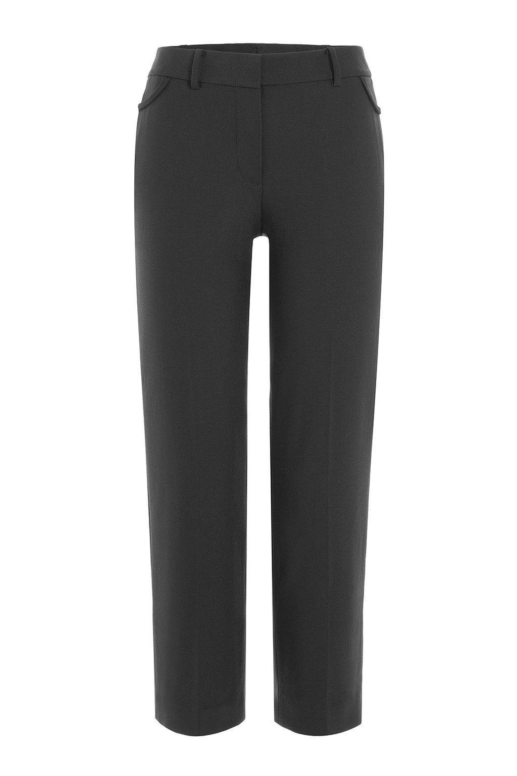 Cropped Cotton Pants - pattern: plain; pocket detail: pockets at the sides; hip detail: draws attention to hips; waist: mid/regular rise; predominant colour: charcoal; occasions: casual, evening, creative work; length: ankle length; fibres: cotton - stretch; fit: straight leg; pattern type: fabric; texture group: woven light midweight; style: standard; season: a/w 2015; wardrobe: basic
