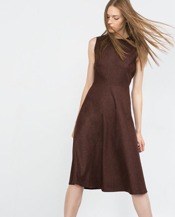 Dress With Full Skirt - style: shift; length: below the knee; pattern: plain; sleeve style: sleeveless; predominant colour: chocolate brown; occasions: evening, creative work; fit: fitted at waist & bust; fibres: polyester/polyamide - stretch; neckline: crew; sleeve length: sleeveless; pattern type: fabric; texture group: woven light midweight; season: a/w 2015