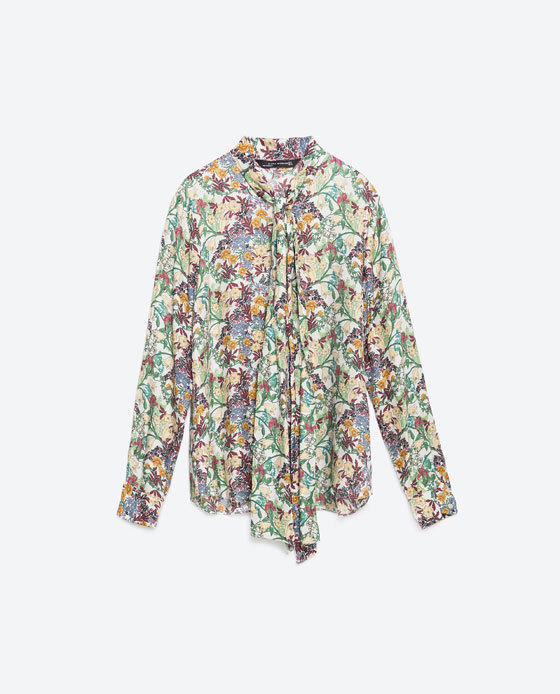 Printed Blouse - neckline: pussy bow; style: blouse; predominant colour: ivory/cream; secondary colour: purple; occasions: casual, creative work; length: standard; fit: straight cut; sleeve length: long sleeve; sleeve style: standard; pattern type: fabric; pattern size: standard; pattern: florals; texture group: woven light midweight; fibres: viscose/rayon - mix; multicoloured: multicoloured; season: a/w 2015; trends: crazy prints; wardrobe: highlight