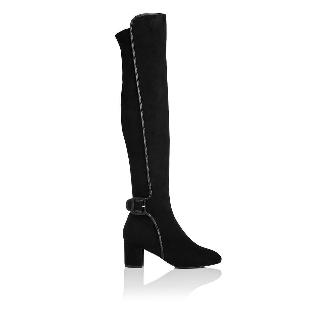 Anouk Suede Knee Boot Black - predominant colour: black; material: suede; heel height: mid; heel: block; toe: open toe/peeptoe; boot length: over the knee; style: standard; finish: plain; pattern: plain; occasions: creative work; season: a/w 2015; wardrobe: investment