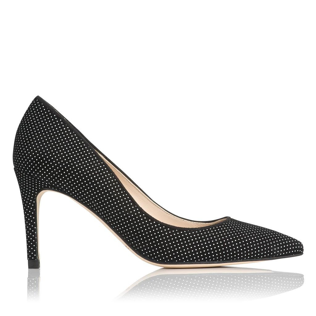 Floret Micro Dot Suede Court - secondary colour: white; predominant colour: black; occasions: evening, creative work; material: suede; heel height: high; heel: stiletto; toe: pointed toe; style: courts; finish: plain; pattern: polka dot; season: a/w 2015; wardrobe: highlight