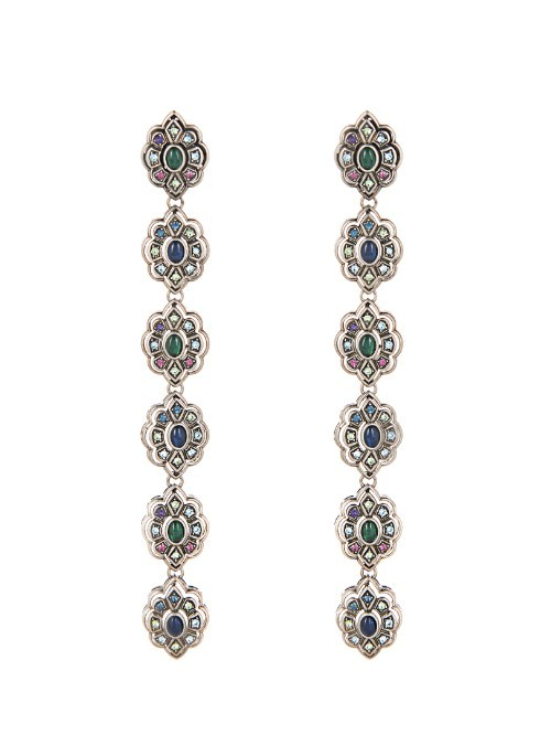 Crystal And Palladium Plated Earrings - secondary colour: royal blue; predominant colour: silver; occasions: evening, occasion; style: drop; length: extra long; size: large/oversized; material: chain/metal; fastening: pierced; finish: metallic; embellishment: jewels/stone; season: a/w 2015; wardrobe: event