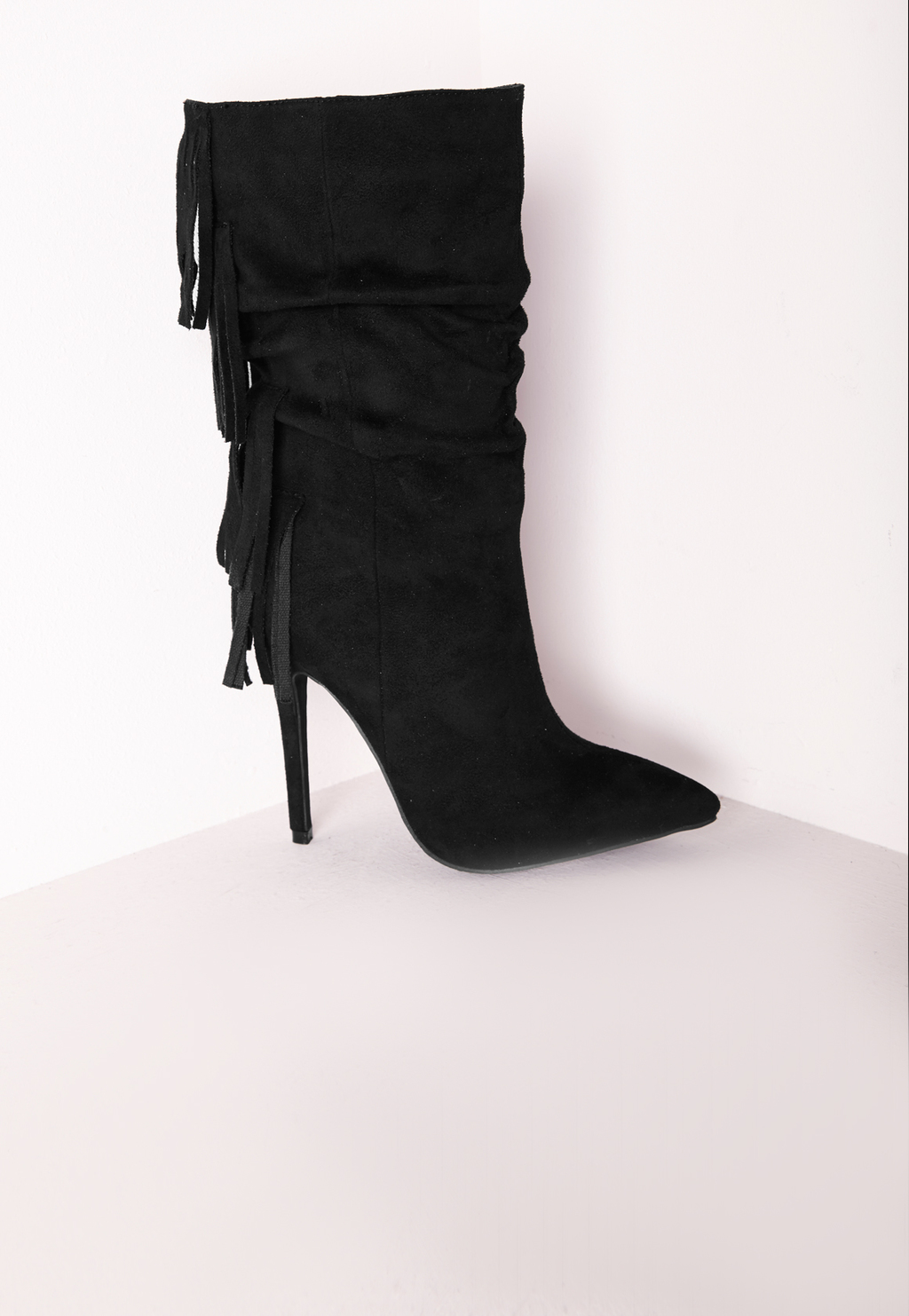 Fringed Back Ankle Boots Black, Black - predominant colour: black; heel height: high; heel: stiletto; toe: pointed toe; boot length: mid calf; style: standard; finish: plain; pattern: plain; embellishment: fringing; material: faux suede; occasions: creative work; season: a/w 2015
