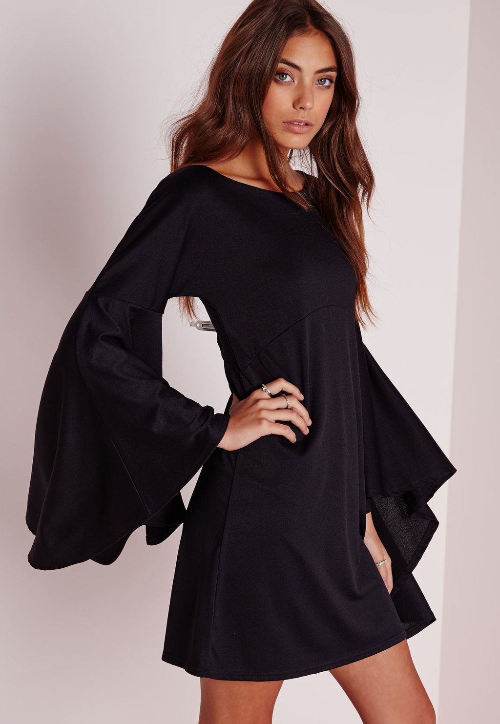Flared Sleeve Swing Dress Black, Black - style: shift; length: mid thigh; neckline: round neck; sleeve style: bell sleeve; pattern: plain; predominant colour: black; occasions: evening; fit: body skimming; fibres: polyester/polyamide - stretch; sleeve length: long sleeve; pattern type: fabric; texture group: jersey - stretchy/drapey; season: a/w 2015; wardrobe: event