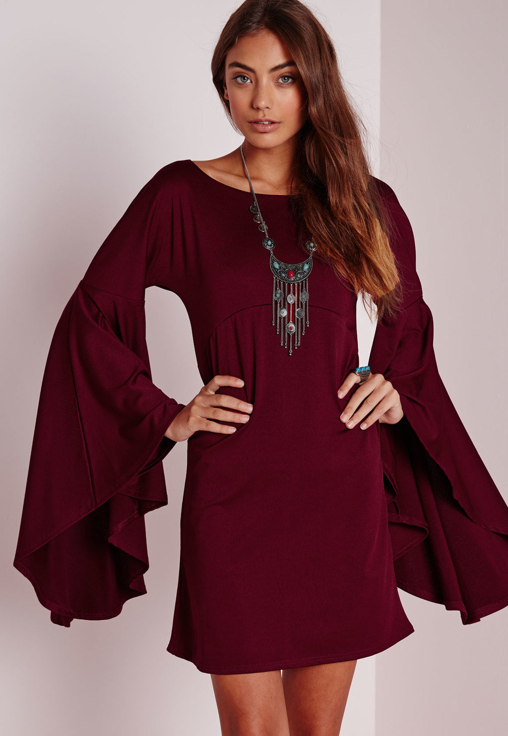 Flared Sleeve Swing Dress Burgundy, Red - style: shift; length: mid thigh; neckline: round neck; sleeve style: angel/waterfall; pattern: plain; predominant colour: burgundy; occasions: evening; fit: body skimming; fibres: polyester/polyamide - stretch; sleeve length: long sleeve; pattern type: fabric; texture group: jersey - stretchy/drapey; season: a/w 2015; wardrobe: event