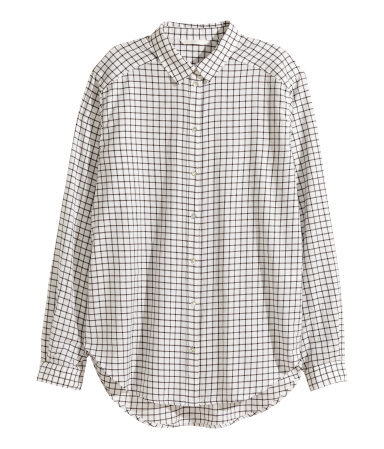 Cotton Shirt - neckline: shirt collar/peter pan/zip with opening; pattern: checked/gingham; length: below the bottom; style: shirt; predominant colour: white; occasions: casual, creative work; fibres: cotton - 100%; fit: straight cut; sleeve length: long sleeve; sleeve style: standard; trends: monochrome; texture group: cotton feel fabrics; pattern type: fabric; pattern size: big & busy (top); season: a/w 2015; wardrobe: highlight