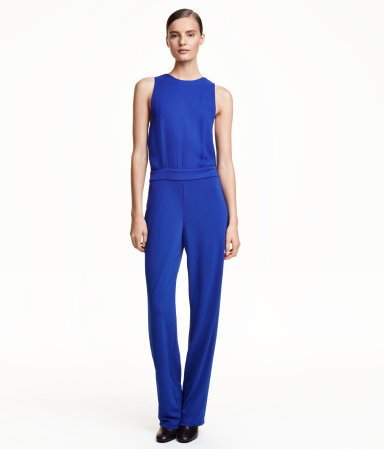 Sleeveless Jumpsuit - length: standard; pattern: plain; sleeve style: sleeveless; predominant colour: diva blue; occasions: evening, occasion; fit: body skimming; neckline: crew; sleeve length: sleeveless; style: jumpsuit; pattern type: fabric; texture group: jersey - stretchy/drapey; season: a/w 2015