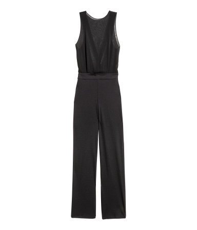 Sleeveless Jumpsuit - length: standard; fit: fitted at waist; pattern: plain; sleeve style: sleeveless; predominant colour: black; occasions: evening, creative work; neckline: crew; sleeve length: sleeveless; texture group: sheer fabrics/chiffon/organza etc.; style: jumpsuit; pattern type: fabric; season: a/w 2015; wardrobe: highlight