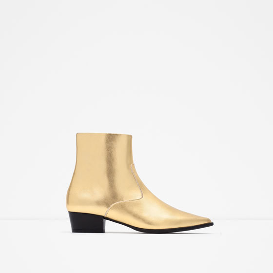 Gold Tone Flat Ankle Boots - predominant colour: gold; occasions: casual; material: leather; heel height: flat; heel: standard; toe: pointed toe; boot length: shoe boot; style: standard; finish: metallic; pattern: plain; season: a/w 2015; wardrobe: highlight