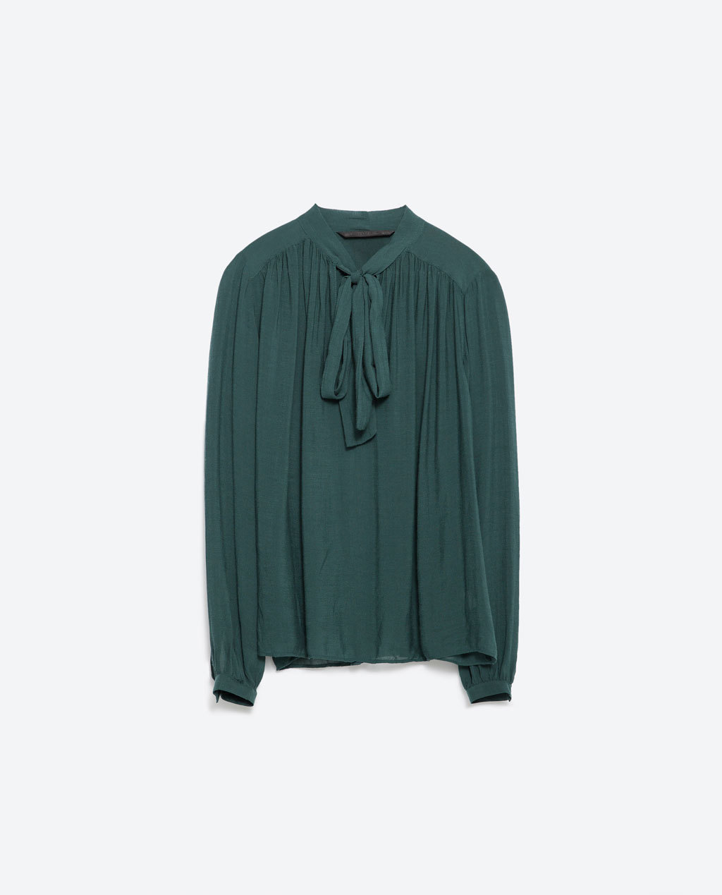 Bow Shirt - pattern: plain; style: shirt; neckline: pussy bow; predominant colour: dark green; occasions: casual, work, occasion, creative work; length: standard; fibres: viscose/rayon - 100%; fit: loose; sleeve length: long sleeve; sleeve style: standard; pattern type: fabric; texture group: other - light to midweight; season: a/w 2015; wardrobe: highlight
