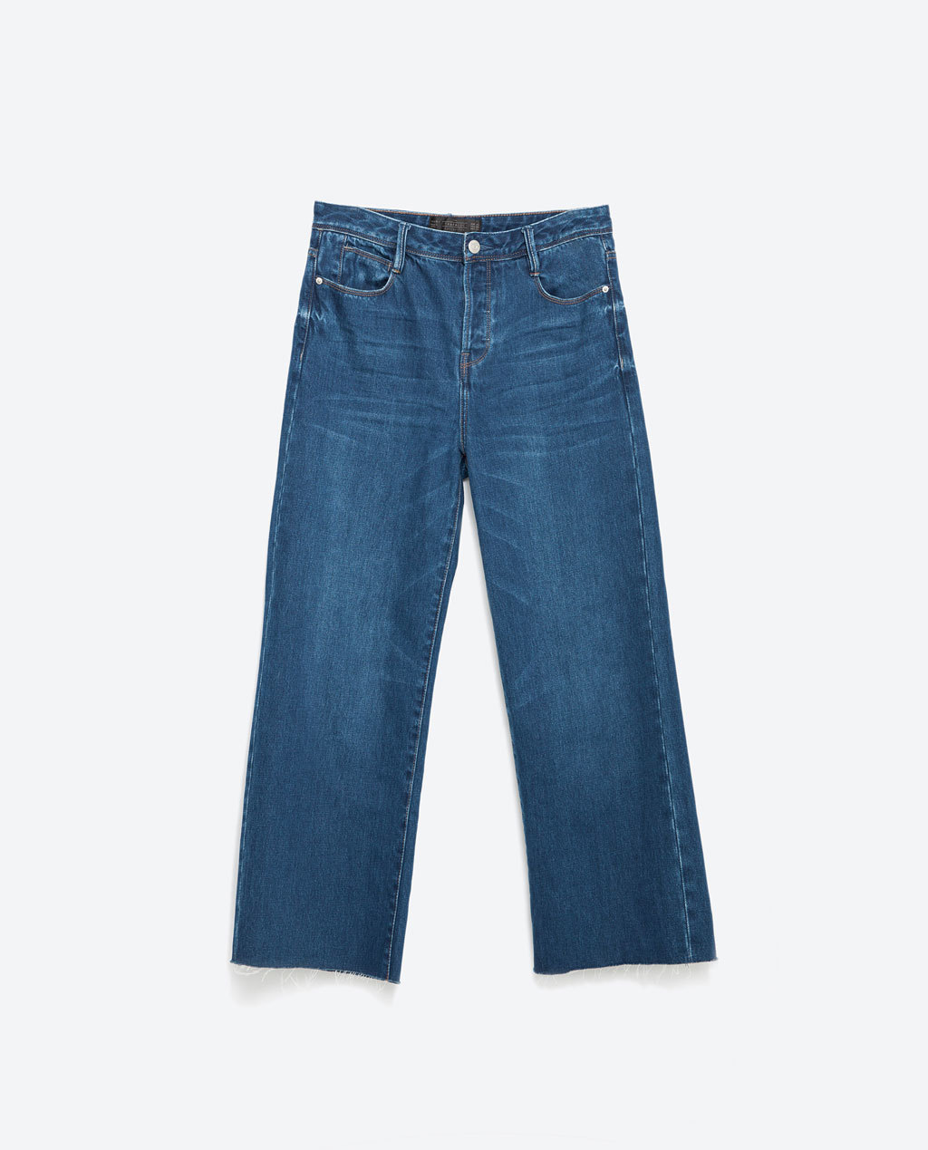 Cropped Wide Leg Trousers - pattern: plain; pocket detail: traditional 5 pocket; waist: mid/regular rise; style: wide leg; predominant colour: denim; occasions: casual, creative work; length: calf length; fibres: cotton - 100%; texture group: denim; pattern type: fabric; season: a/w 2015; wardrobe: basic