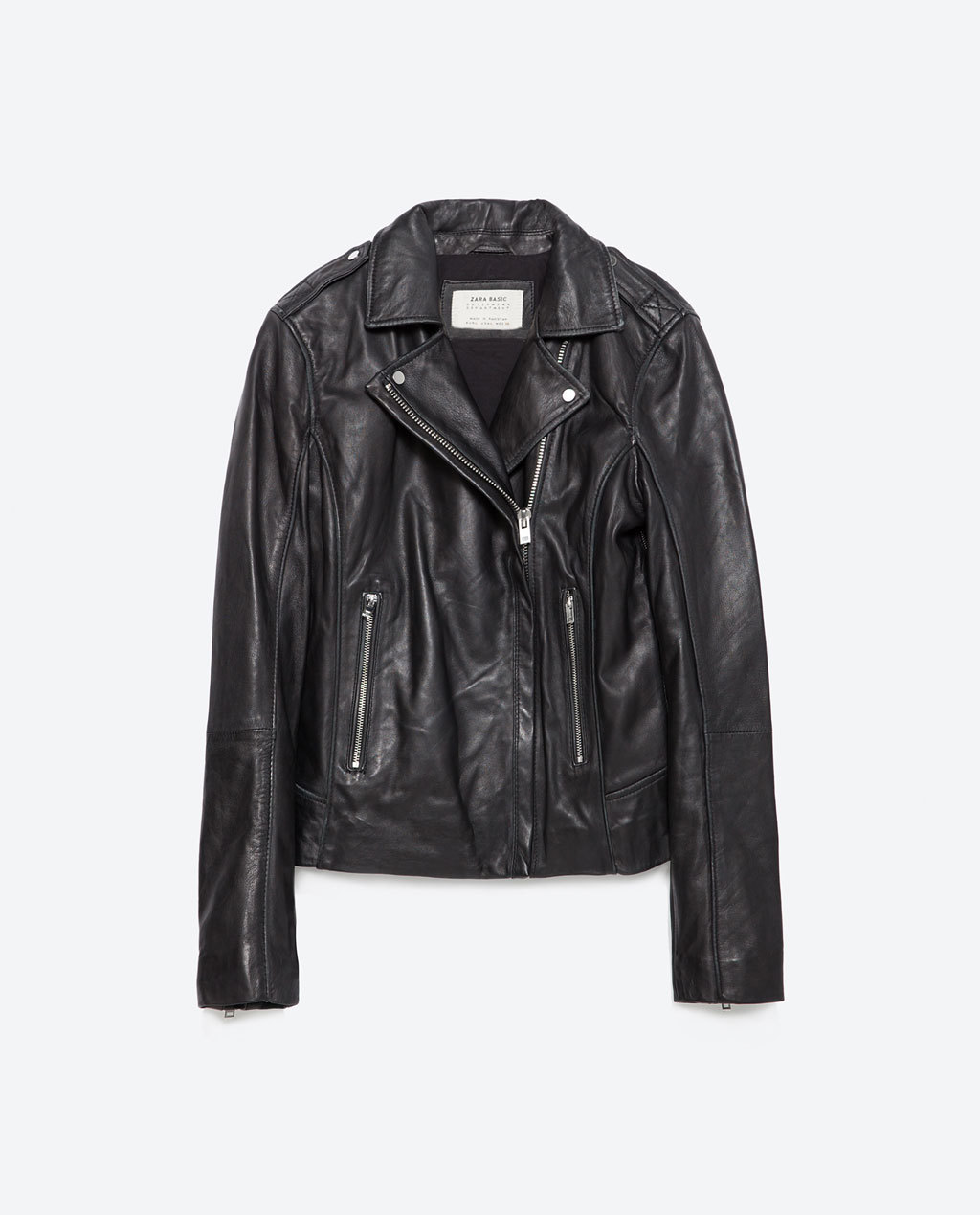 Leather Jacket - pattern: plain; style: biker; collar: asymmetric biker; fit: slim fit; predominant colour: black; occasions: casual, creative work; length: standard; fibres: leather - 100%; sleeve length: long sleeve; sleeve style: standard; texture group: leather; collar break: medium; pattern type: fabric; season: a/w 2015; wardrobe: basic
