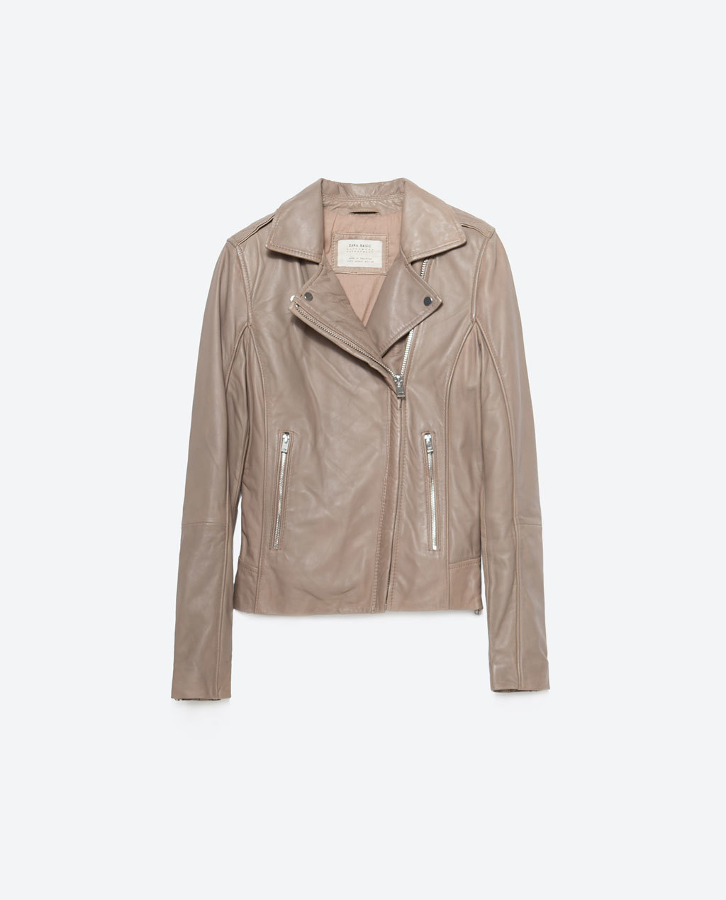 Leather Jacket - pattern: plain; style: biker; collar: asymmetric biker; fit: slim fit; predominant colour: stone; occasions: casual, evening, creative work; length: standard; fibres: leather - 100%; sleeve length: long sleeve; sleeve style: standard; texture group: leather; collar break: medium; pattern type: fabric; season: a/w 2015; wardrobe: basic
