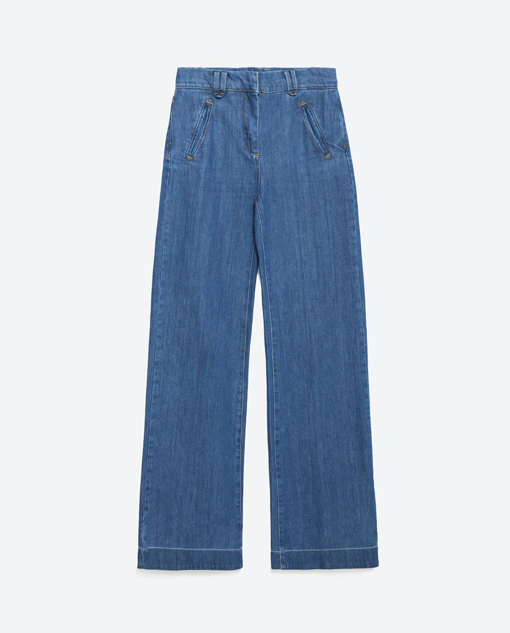 Flared Trousers - style: flares; length: standard; pattern: plain; waist: high rise; predominant colour: denim; occasions: casual; fibres: cotton - 100%; texture group: denim; pattern type: fabric; season: a/w 2015; wardrobe: basic