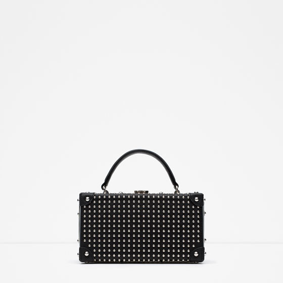 Studded Briefcase Style Messenger Bag - predominant colour: black; type of pattern: standard; style: structured bag; length: handle; size: standard; material: faux leather; embellishment: studs; pattern: plain; finish: plain; occasions: creative work; season: a/w 2015; wardrobe: investment