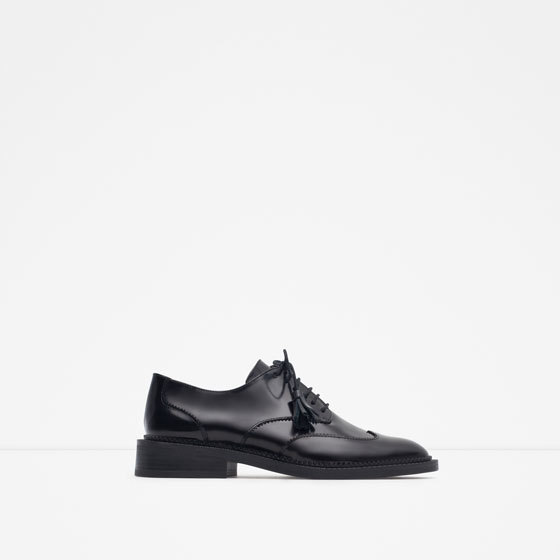 Leather Brogue Blucher - predominant colour: black; occasions: casual, creative work; material: leather; heel height: flat; toe: round toe; style: brogues; finish: plain; pattern: plain; season: a/w 2015