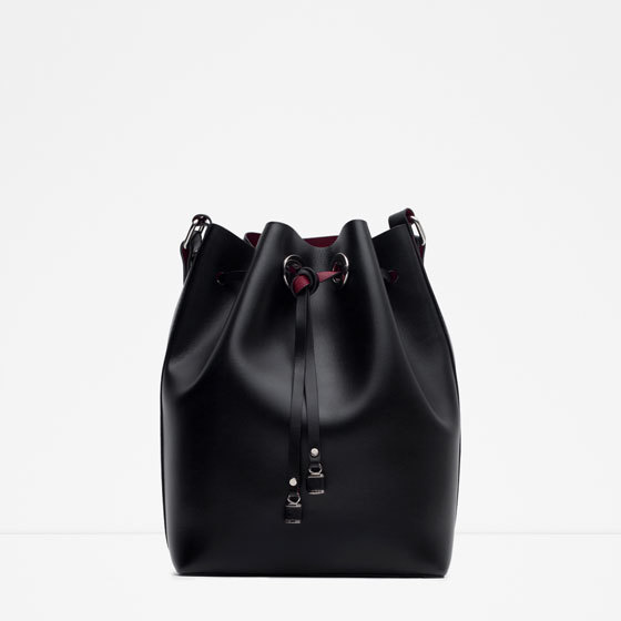 Detail Bucket Bag - predominant colour: black; occasions: casual, creative work; style: onion bag; length: across body/long; size: standard; material: faux leather; pattern: plain; finish: plain; season: a/w 2015; wardrobe: investment