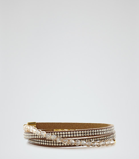 Letitia Wrap Bracelet With Crystals From Swarovski - predominant colour: gold; occasions: evening, occasion; style: buckle/wrap; size: standard; material: chain/metal; finish: metallic; embellishment: crystals/glass; season: a/w 2015