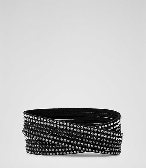Ophelia Wrap Bracelet With Crystals From Swarovski - predominant colour: black; occasions: evening, occasion; style: buckle/wrap; size: standard; material: chain/metal; finish: metallic; embellishment: crystals/glass; season: a/w 2015