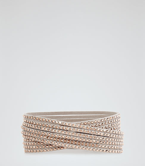 Ophelia Wrap Bracelet With Crystals From Swarovski - predominant colour: gold; occasions: evening, occasion; style: buckle/wrap; size: standard; material: chain/metal; finish: metallic; embellishment: crystals/glass; season: a/w 2015; wardrobe: event