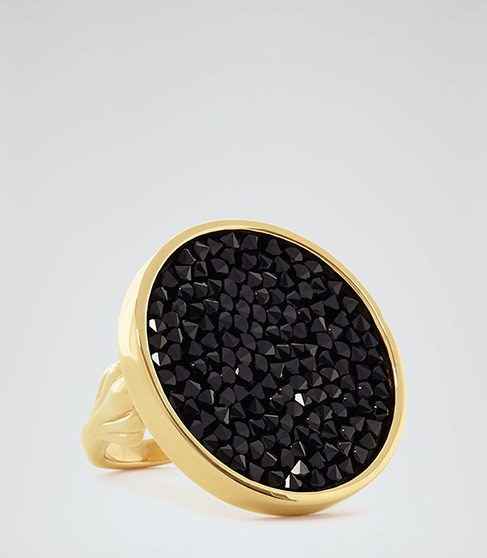 Xenia Ring With Crystals From Swarovski - secondary colour: gold; predominant colour: black; occasions: evening, occasion; style: cocktail; size: large/oversized; material: chain/metal; finish: metallic; embellishment: jewels/stone; season: a/w 2015; wardrobe: event