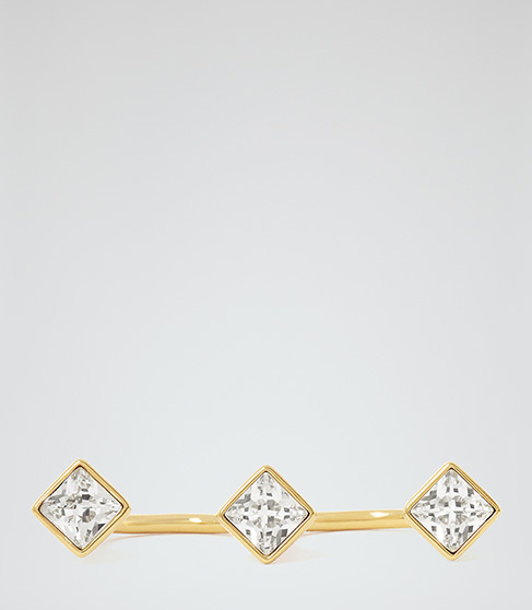 Ohara Double Ring With Crystals From Swarovski - predominant colour: gold; occasions: evening, occasion; style: band; size: standard; material: chain/metal; finish: metallic; embellishment: crystals/glass; season: a/w 2015