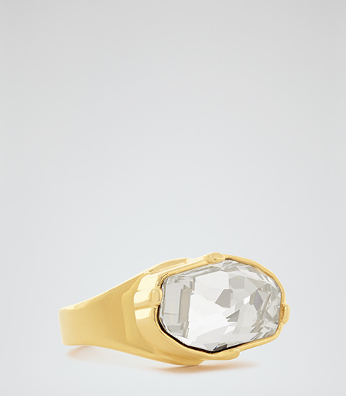Liora Ring With Crystals From Swarovski - predominant colour: gold; occasions: evening, occasion; style: cocktail; size: large/oversized; material: chain/metal; finish: metallic; embellishment: crystals/glass; season: a/w 2015; wardrobe: event