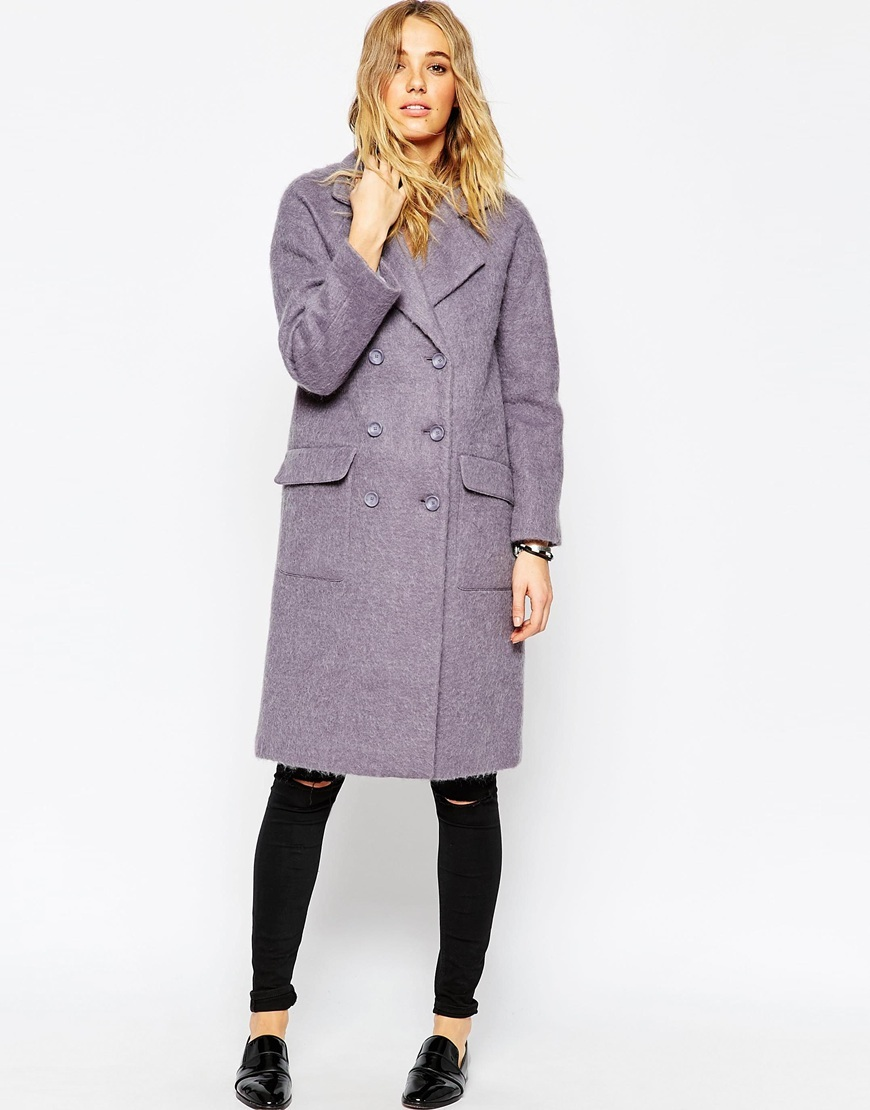 Coat In Cocoon Fit Heathered Grey - pattern: plain; style: double breasted; length: on the knee; collar: standard lapel/rever collar; predominant colour: lilac; occasions: casual, creative work; fit: straight cut (boxy); fibres: wool - mix; sleeve length: long sleeve; sleeve style: standard; collar break: medium; pattern type: fabric; texture group: woven bulky/heavy; season: a/w 2015; wardrobe: highlight