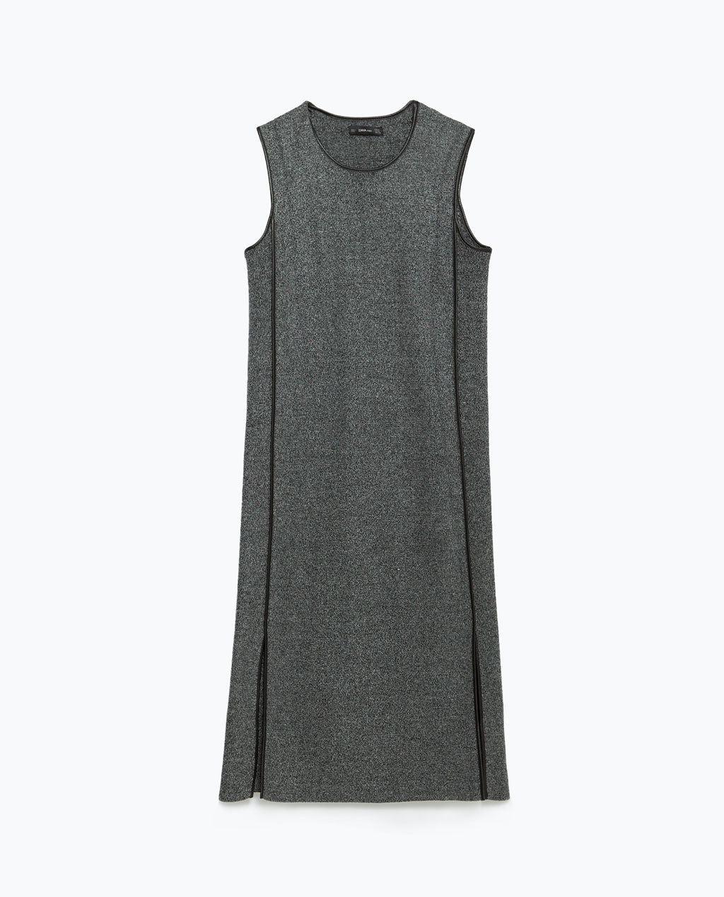 Round Neck Dress - style: shift; neckline: round neck; pattern: plain; sleeve style: sleeveless; predominant colour: mid grey; secondary colour: black; occasions: casual, creative work; length: just above the knee; fit: straight cut; sleeve length: sleeveless; pattern type: fabric; texture group: jersey - stretchy/drapey; season: a/w 2015; wardrobe: basic