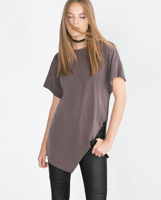 Asymmetric Printed T Shirt - pattern: plain; length: below the bottom; style: t-shirt; predominant colour: charcoal; occasions: casual; fibres: cotton - stretch; fit: body skimming; neckline: crew; sleeve length: short sleeve; sleeve style: standard; pattern type: fabric; texture group: jersey - stretchy/drapey; season: a/w 2015; wardrobe: basic