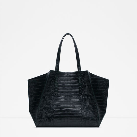Geometric Tote - predominant colour: black; occasions: casual, work, creative work; style: tote; length: shoulder (tucks under arm); size: oversized; material: faux leather; pattern: plain; finish: plain; season: a/w 2015; wardrobe: investment