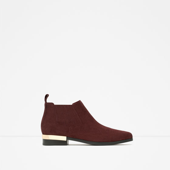 Flat Leather Ankle Boots With Metal Plaque - predominant colour: burgundy; occasions: casual, creative work; material: leather; heel height: mid; heel: block; toe: round toe; boot length: ankle boot; style: standard; finish: plain; pattern: plain; embellishment: chain/metal; season: a/w 2015; wardrobe: highlight
