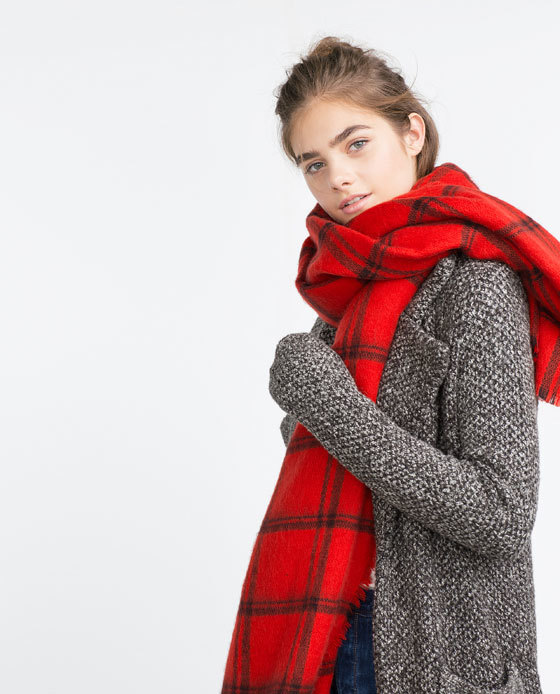 Check Scarf - predominant colour: true red; secondary colour: black; occasions: casual; type of pattern: heavy; style: regular; size: large; material: knits; pattern: checked/gingham; season: a/w 2015; wardrobe: highlight