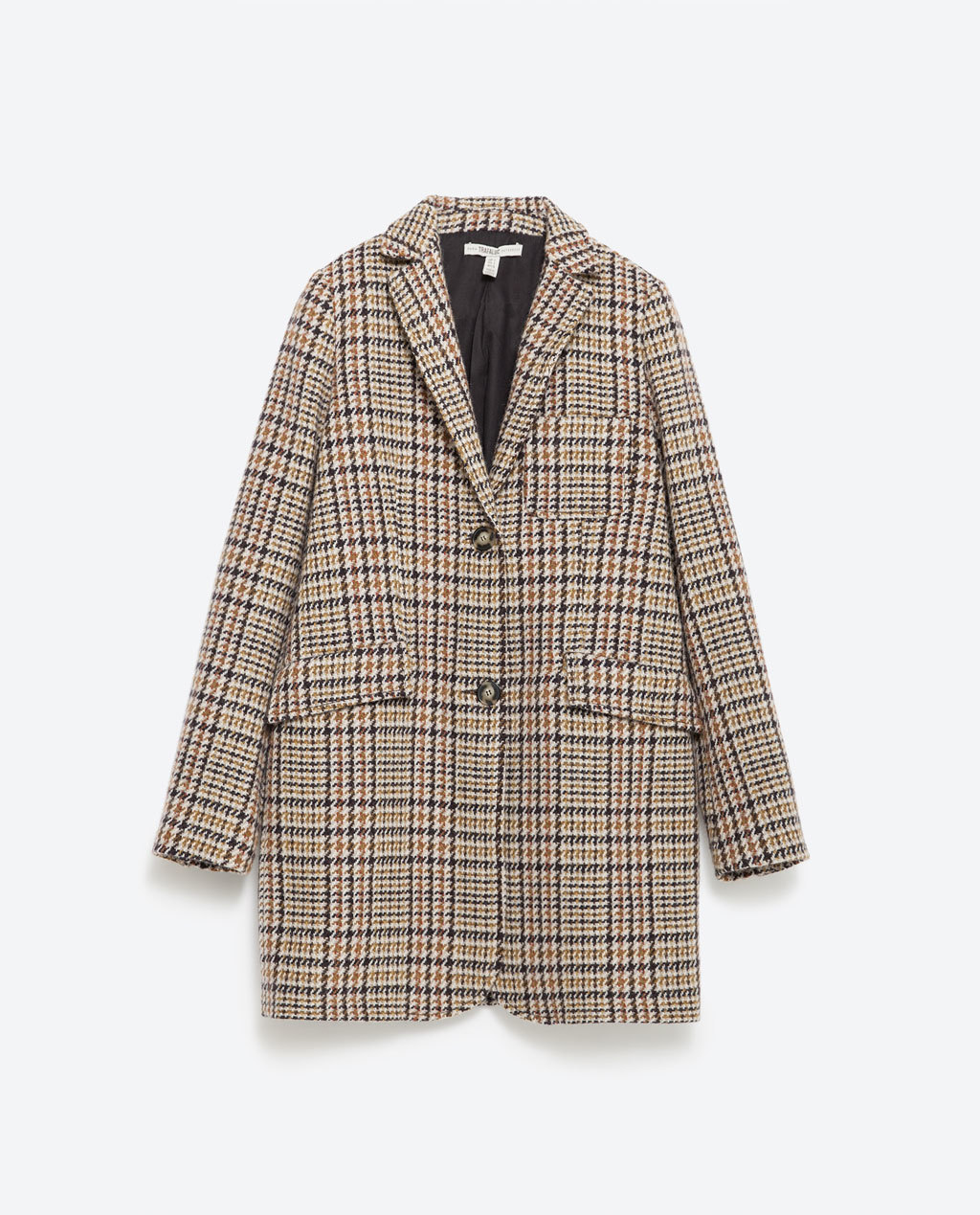 Checked Coat - pattern: checked/gingham; length: below the bottom; style: single breasted; collar: standard lapel/rever collar; predominant colour: camel; fit: straight cut (boxy); sleeve length: long sleeve; sleeve style: standard; collar break: medium; pattern type: fabric; texture group: woven bulky/heavy; occasions: creative work; pattern size: big & busy (top); season: a/w 2015; wardrobe: highlight