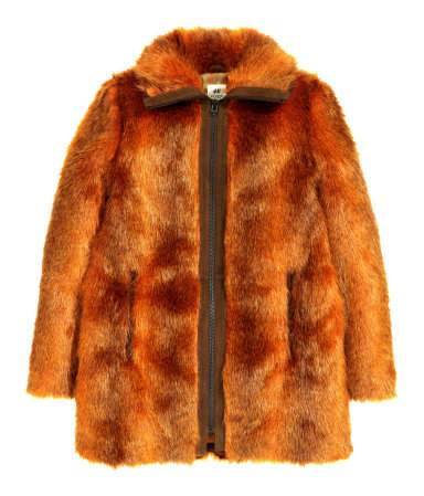 Fake Fur Coat - pattern: plain; length: below the bottom; predominant colour: terracotta; occasions: casual, evening, creative work; fit: straight cut (boxy); style: fur coat; collar: shirt collar/peter pan/zip with opening; sleeve length: long sleeve; sleeve style: standard; texture group: fur; collar break: high; pattern type: fabric; season: a/w 2015; wardrobe: highlight
