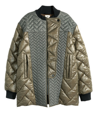 Quilted Bomber Jacket - pattern: plain; length: standard; bust detail: added detail/embellishment at bust; collar: high neck; predominant colour: khaki; secondary colour: light grey; occasions: casual, creative work; fit: straight cut (boxy); sleeve length: long sleeve; sleeve style: standard; texture group: technical outdoor fabrics; collar break: high; pattern type: fabric; style: puffa; season: a/w 2015