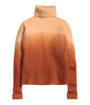 Dip Dye Polo Neck Jumper - pattern: plain; neckline: roll neck; style: standard; predominant colour: bright orange; occasions: casual, creative work; length: standard; fit: standard fit; sleeve length: long sleeve; sleeve style: standard; texture group: knits/crochet; pattern type: knitted - big stitch; season: a/w 2015; wardrobe: highlight